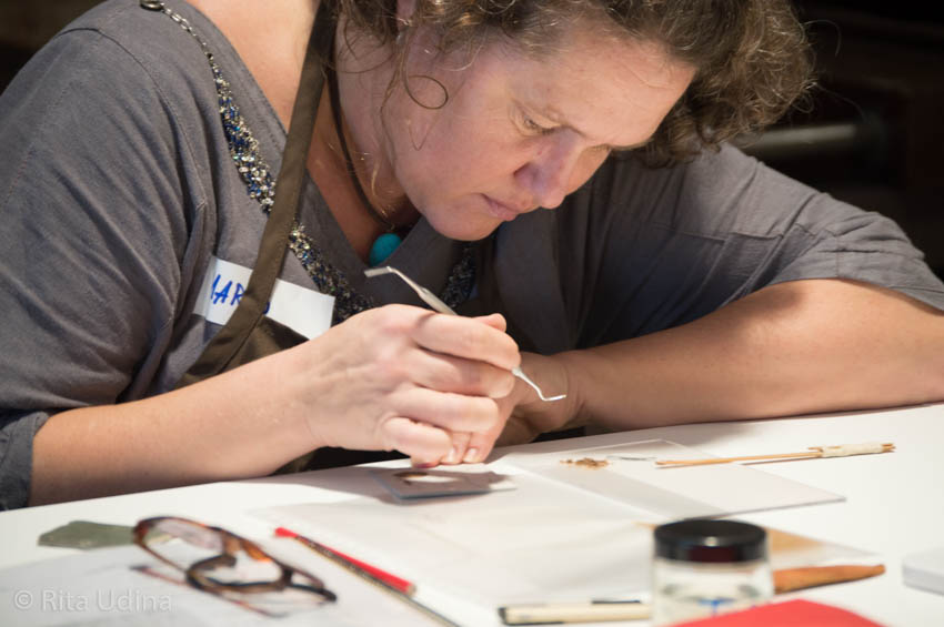 Maris Allik during the course Inpainting and Loss Compensation on Paper Conservation