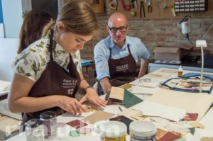 Zulerma Marín and Antonio Mirabile at the paper conservation workshop