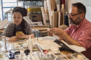 Vivian Yip and Laurent Cruveillier at the paper conservation workshop