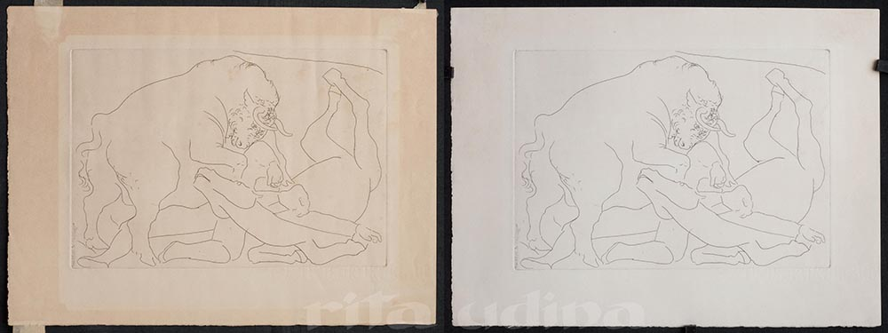 Before and after light bleaching (conservation of Picasso print)