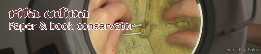 conservation of alum tawed leather button of a flap of a limp vellum binding
