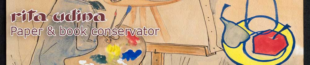 Conservation of gouache and watercolour drawing on paper