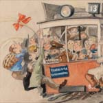Conservation of cartoonof a packed tram. A watercolor and gouache drawing, before and after conservation.