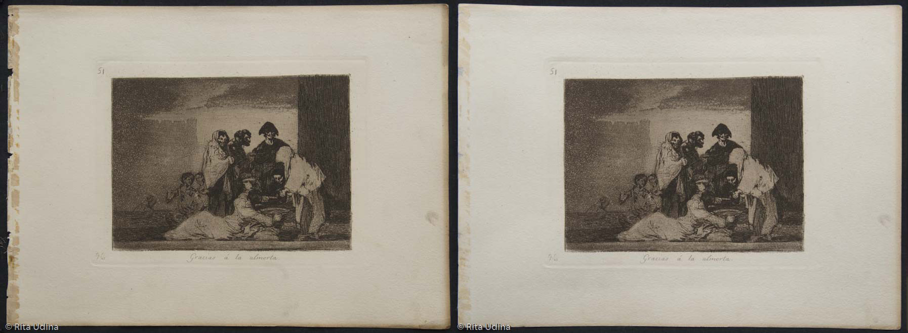 Print #51 before and after conservation. CLICK!