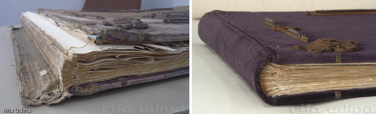 Left: Before restoration. Detail of the tail gilt edge. The straight spine with recessed-cord sewing. The front cover and spine are loose, and the tail headband is lost. Right: After restoration. The velvet has been replaced, keeping the original decorative elements. The lost headband has been reestablished by a similar one to the fore-edge.