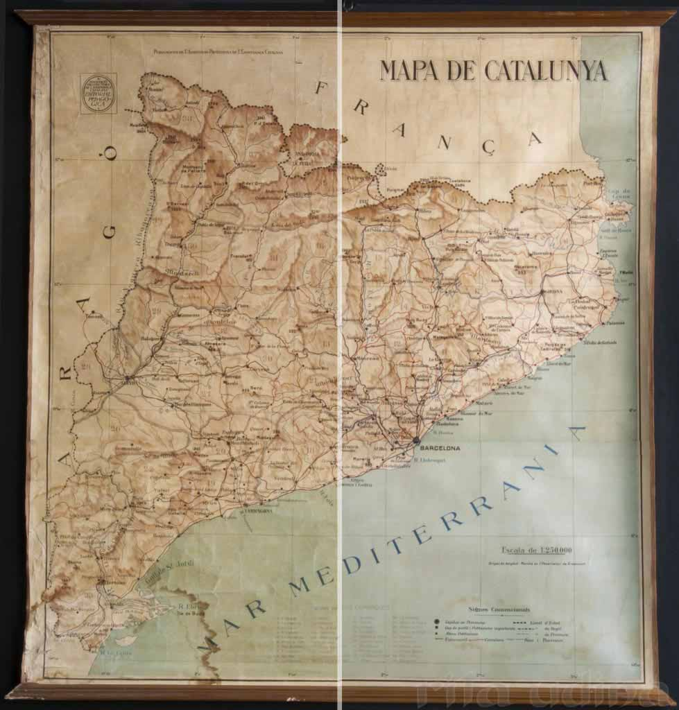 Map of Catalonia before (left) and after (right) restoration