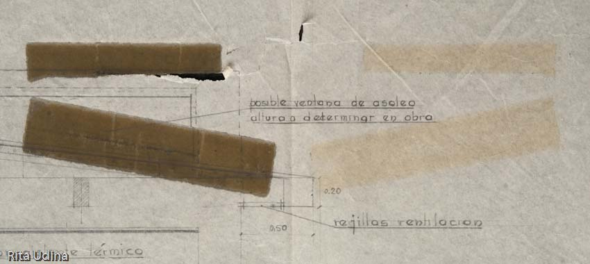 Folded plan with the reflected stain on the opposite side