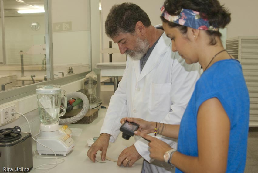 Domènec & Laura. Preparation of paper pulp samples