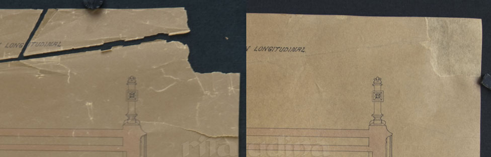 Detail of paper after and before restoration (TRANSPARENCY)
