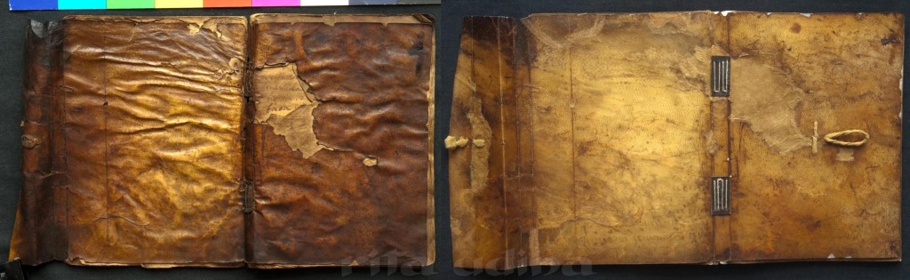 Limp vellum binding with flap, conservation treatment (before and after)