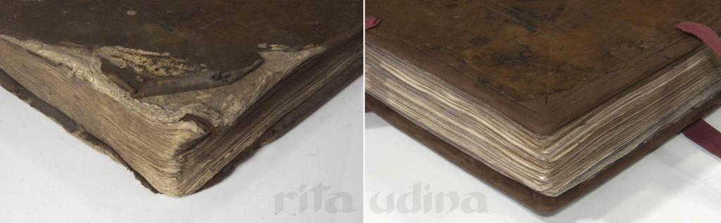 Before and after upper corner of reverse leather binding