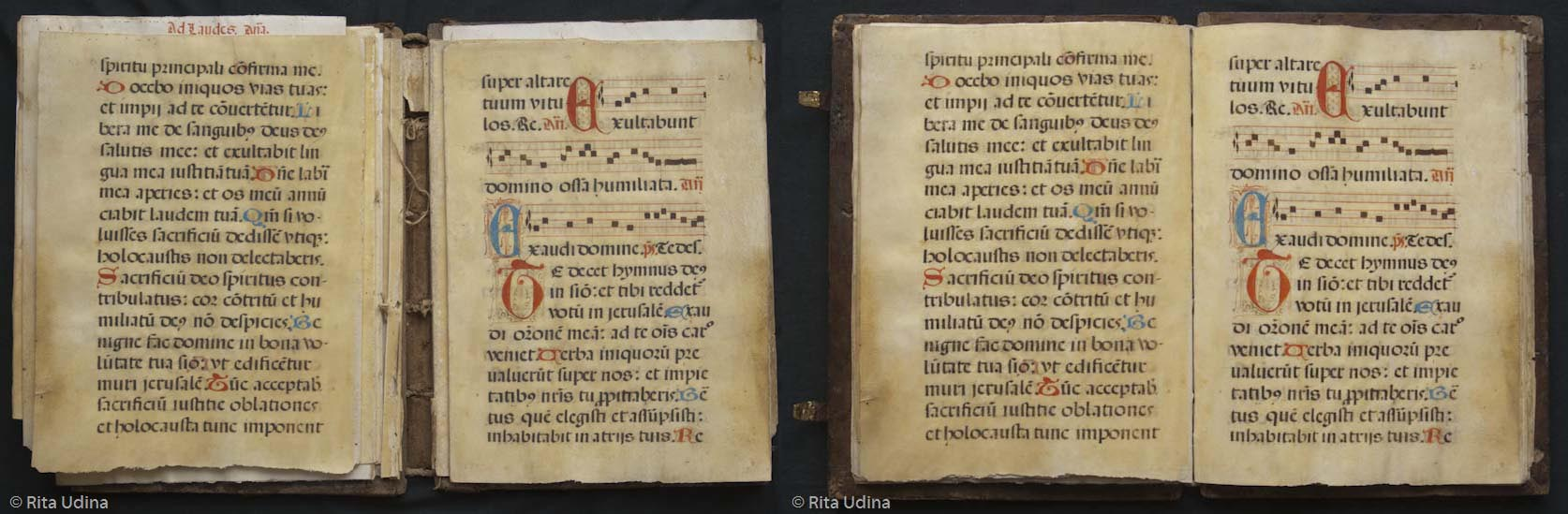 Parchment sheets. Before (left) and after (right) the conservation teatment