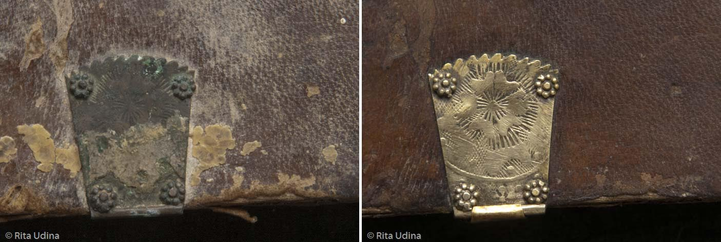 Bronze locks before (left) and after (right) the conservation treatment