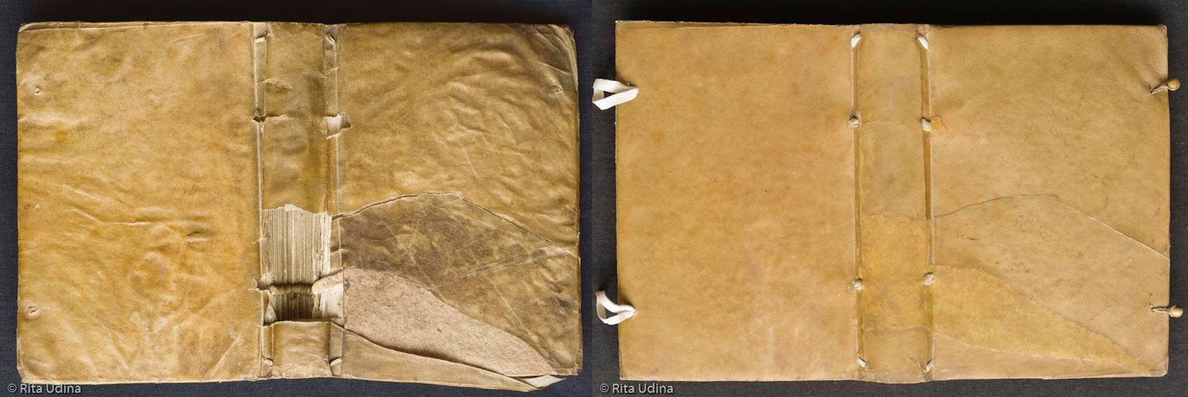 Semi limp vellum binding conservation treatment (before and after)