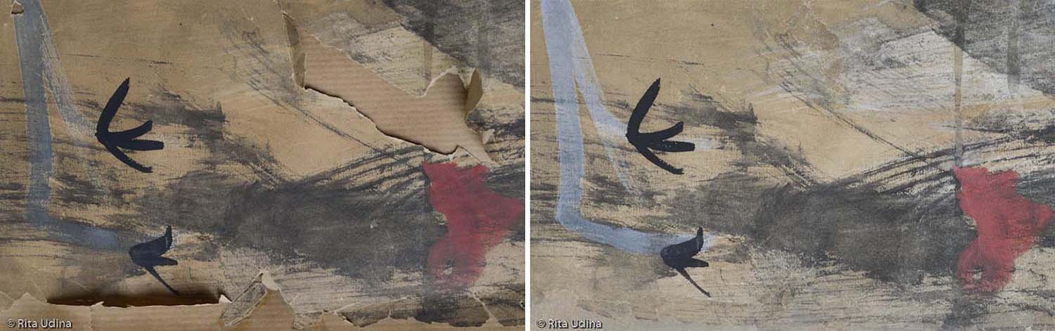 Before and after conservation (detail)