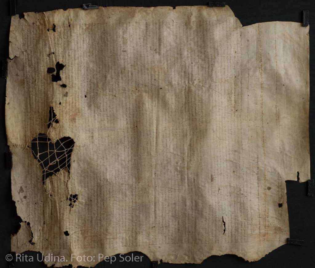 Parchment with woven repair, before treatment