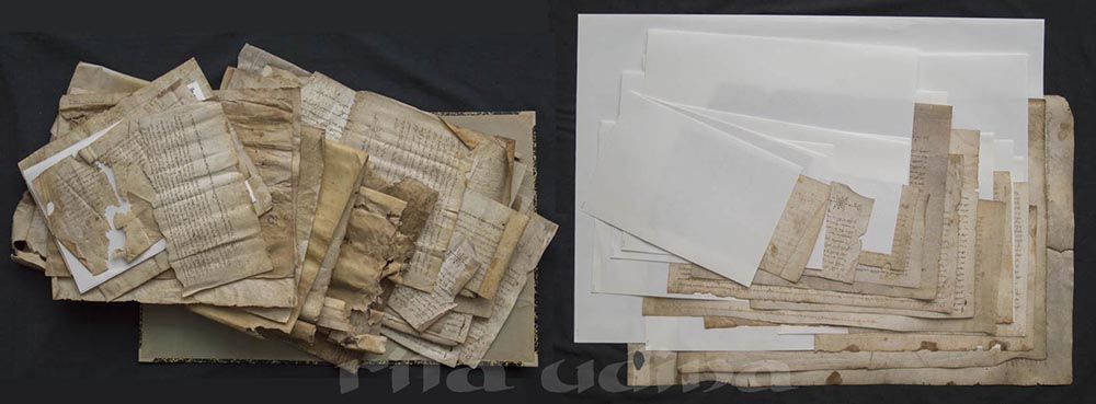 Conservation of parchment documents and housing in buffered paper folders
