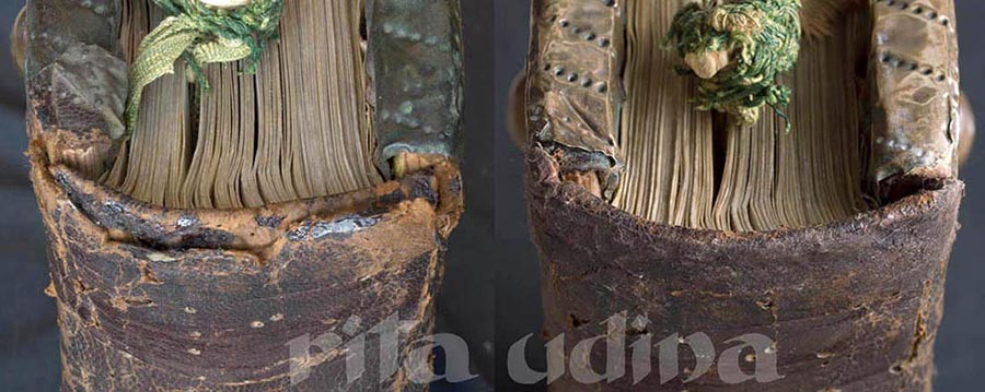 Conservation of renaissance bookbinding full leather on wooden boards
