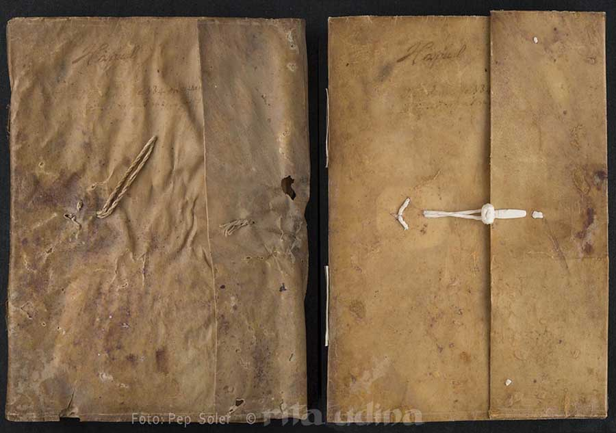 Limp vellum binding with flap, before (left) and after conservation (right)