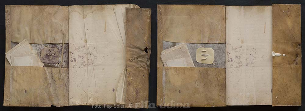 Limp vellum binding with flap, before and after conservation