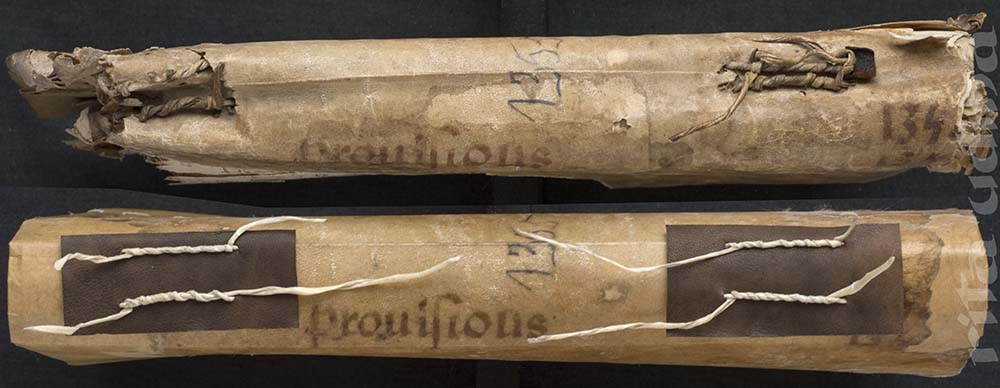 Rolled sewing on medieval limp vellum binding, before and after conservation