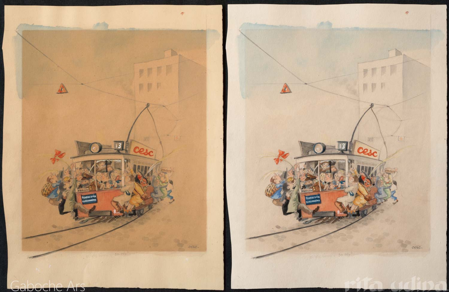 Ink, gouache and watercolour drawing before and after conservation